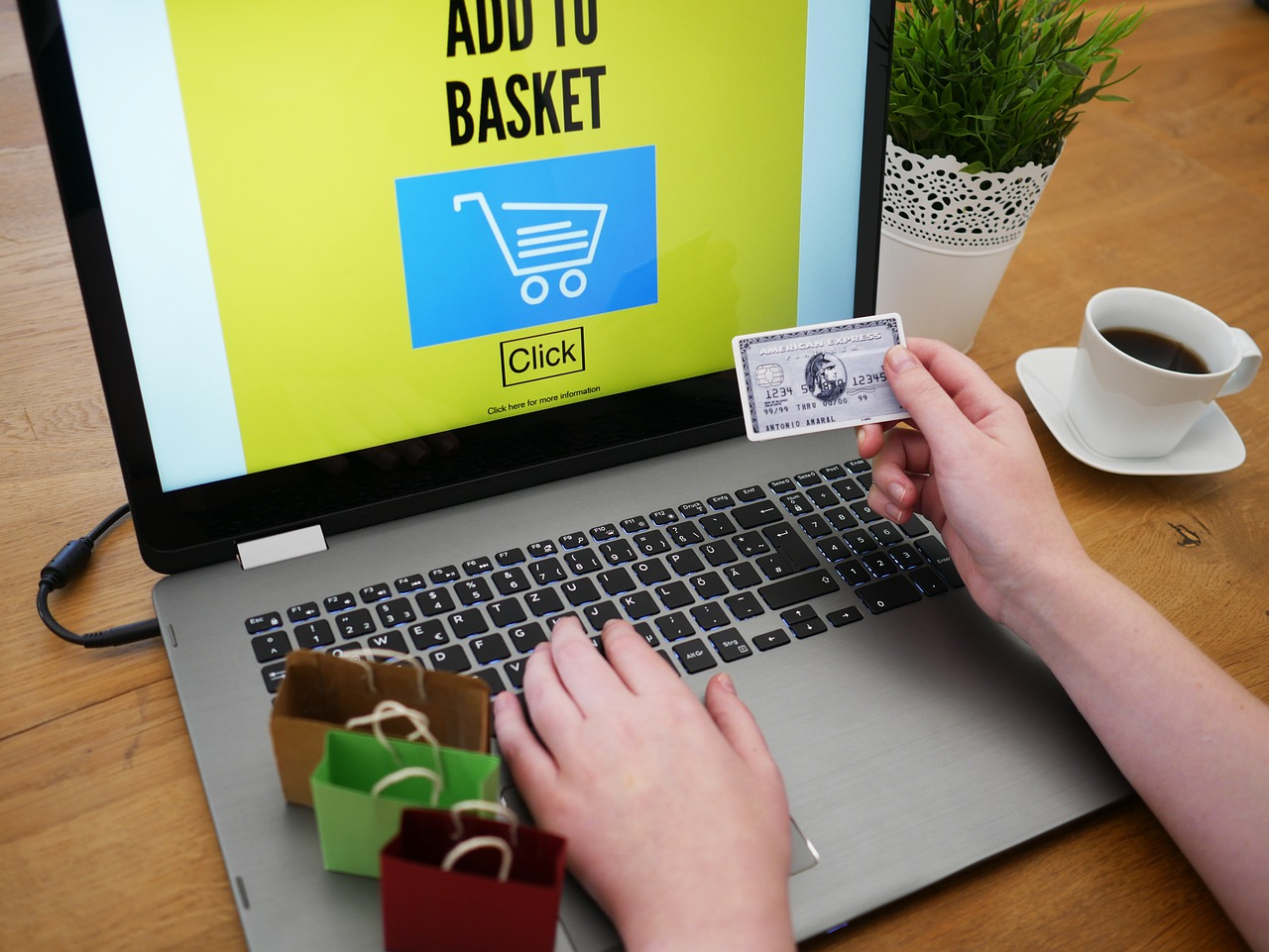 A person buying something online